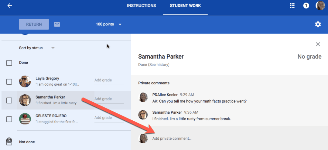 Click on student name and leave them a feedback comment