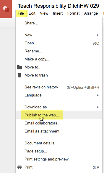 File menu Publish to the web
