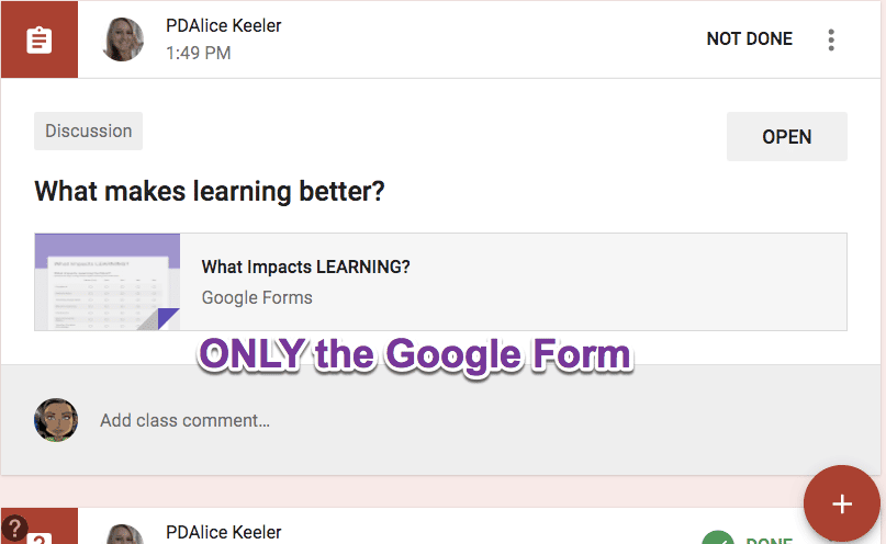 Add only the Google Form
