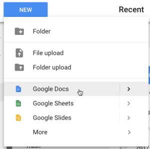 Google Drive click new