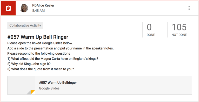 collaborative google slides bell ringer teacher tech
