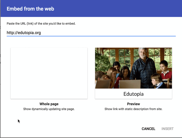 Embed a website