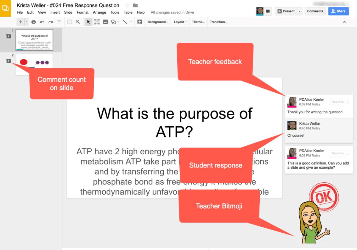 teacher feedback in Google Slides