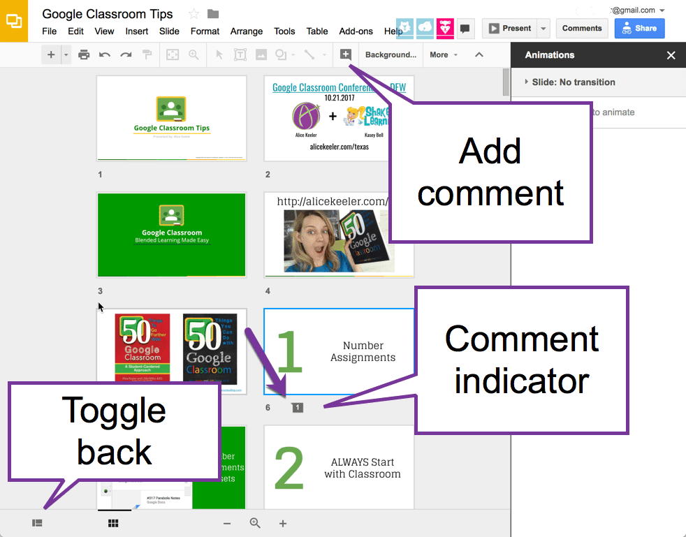 Add comments to the slide