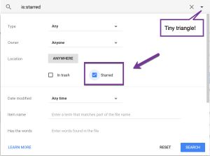 Tiny triangle in Google Drive search. Choose starred