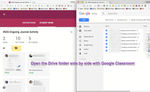 Arrange Google Classroom side by side with Drive