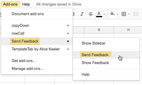 Send Feedback in Add on menu