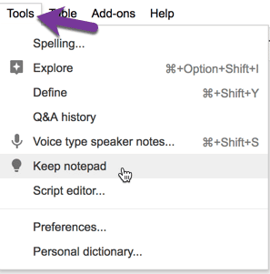 Tools menu in Google Slides choose Keep notepad