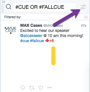 Twitter column settings icon