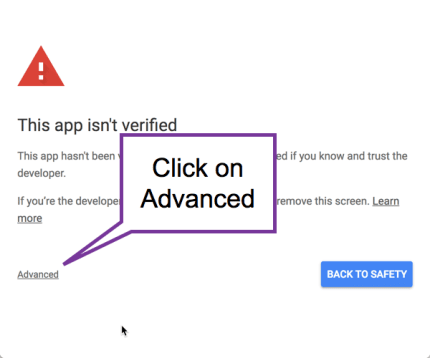 App is not verified. Click on Advanced
