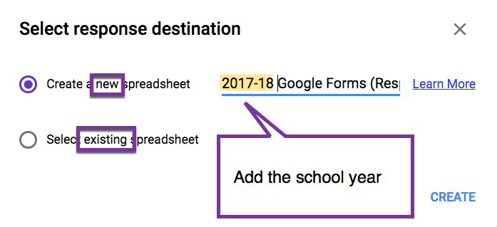 Create a new spreadsheet