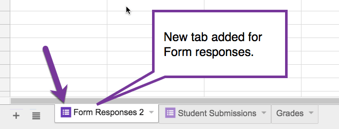New tab added for form responses