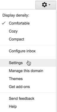 Choose settings in gmail