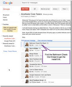 Bathroom Check Out sheet in beta testers