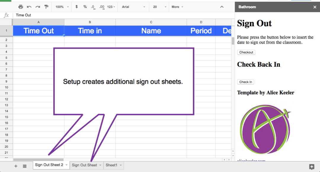 Setup multiple tabs in the spreadsheet