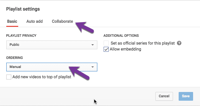 playlist options manual order