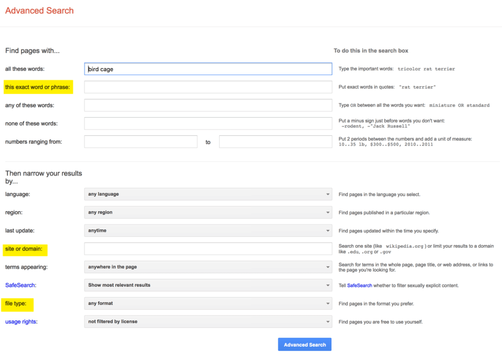 Advanced Search filter builder
