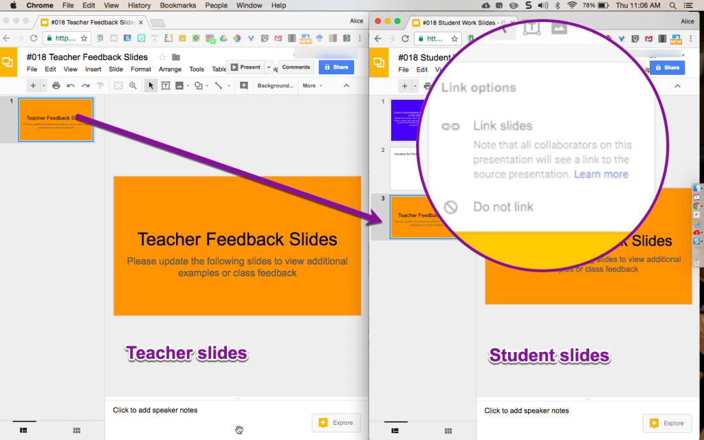 Google Slides Linking from one presentation to another