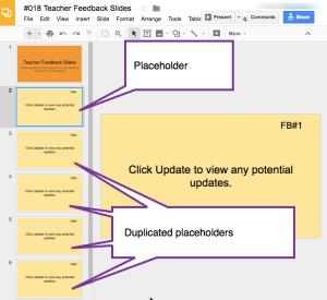 Placeholder slide and duplicated placeholder slides
