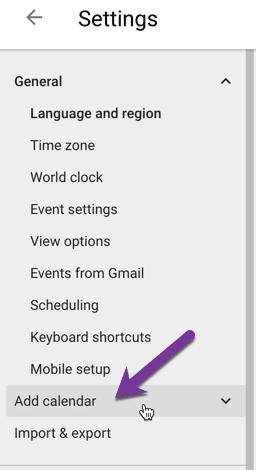 Add a google calendar