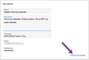 Create a planning calendar