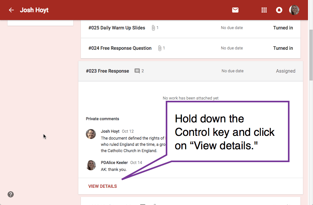 Hold down the control key and view details