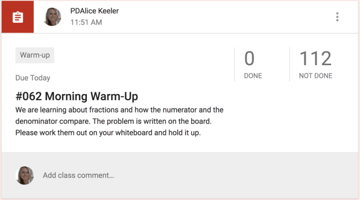 Morning warm up in Google Classroom