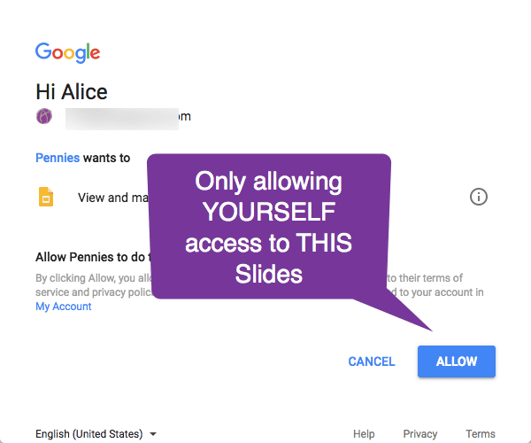 allow yourself access to the slides