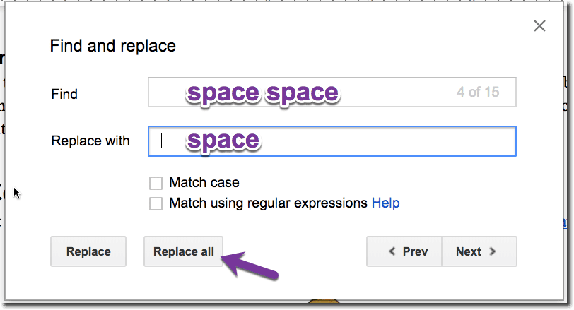 Replace space space with space
