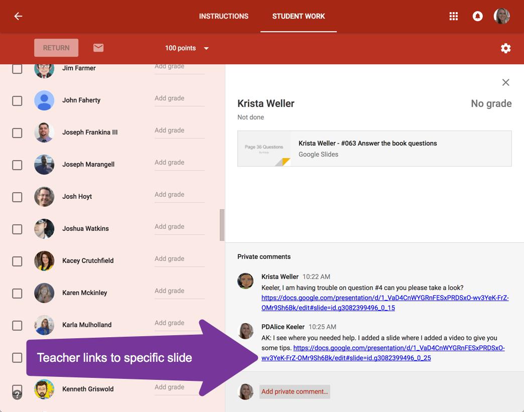 google slides to link help and feedback teacher tech