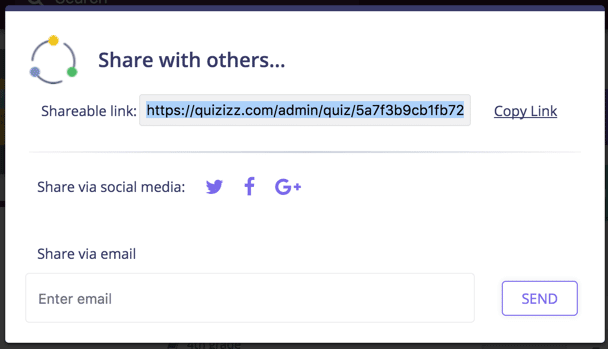 Get shareable link from Quizizz