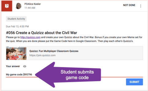 student answers with game code
