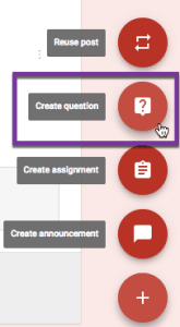 Create question in Google Classroom