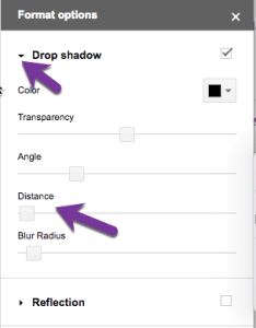 drop shadow options