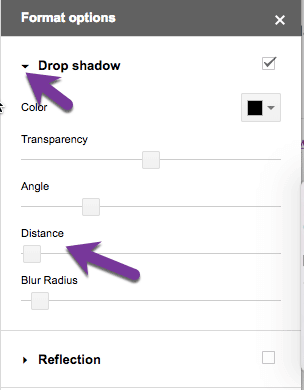 drop shadow options