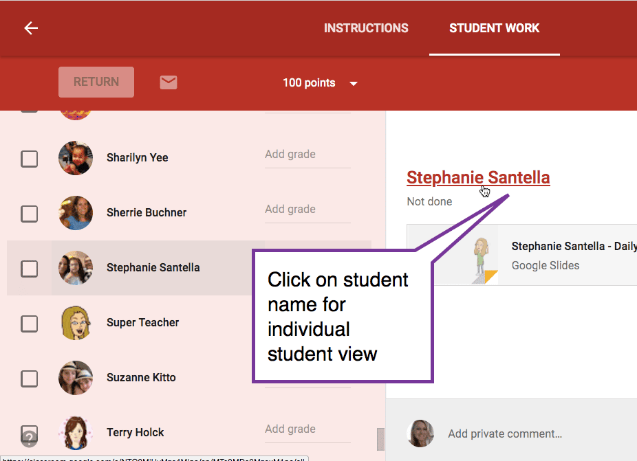 Click on student name for individual student view
