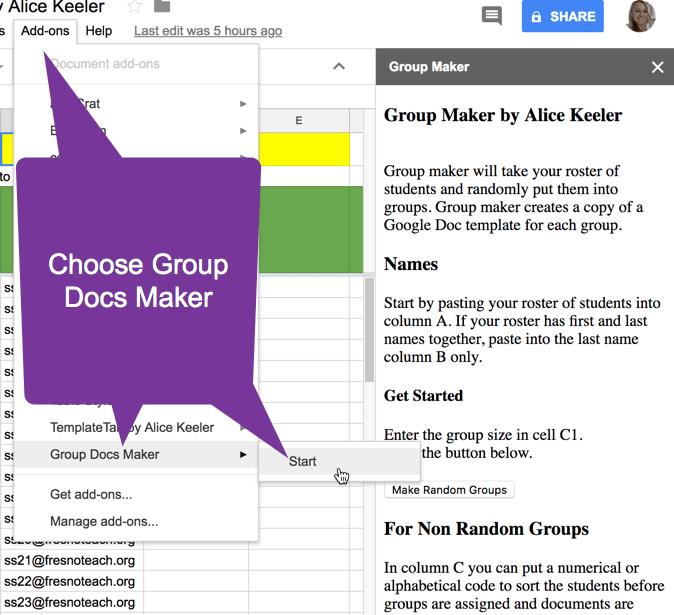 Add on menu group docs maker