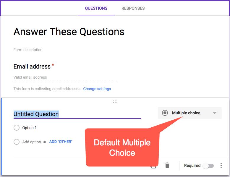 Multiple choice is the default