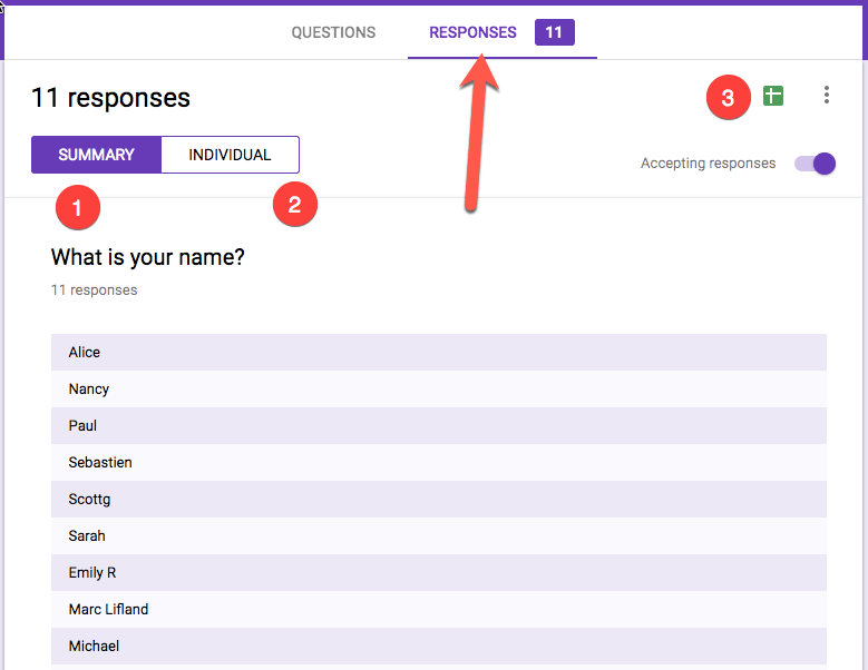 Locate the responses tab and look for 3 ways to view the results