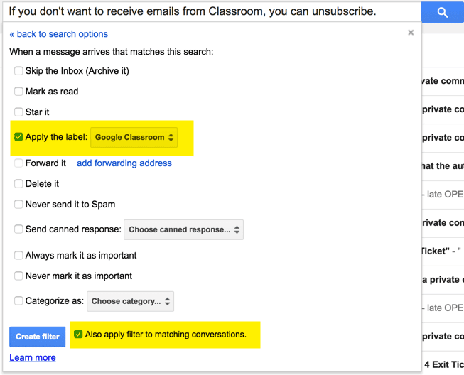 Apply the google classroom label