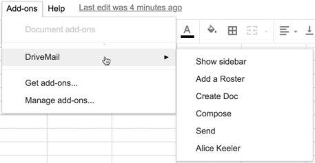 Drivemail add on menu