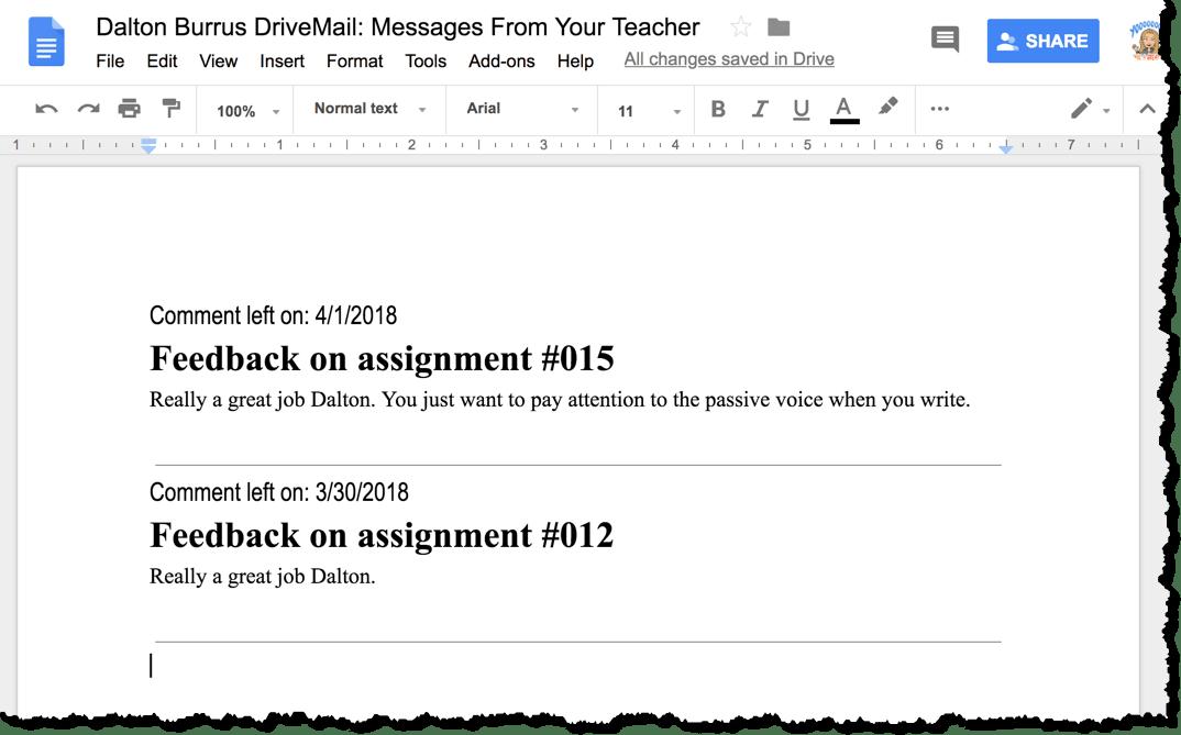 Feedback in the Google Doc