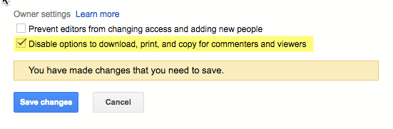 Checkbox to disable copying