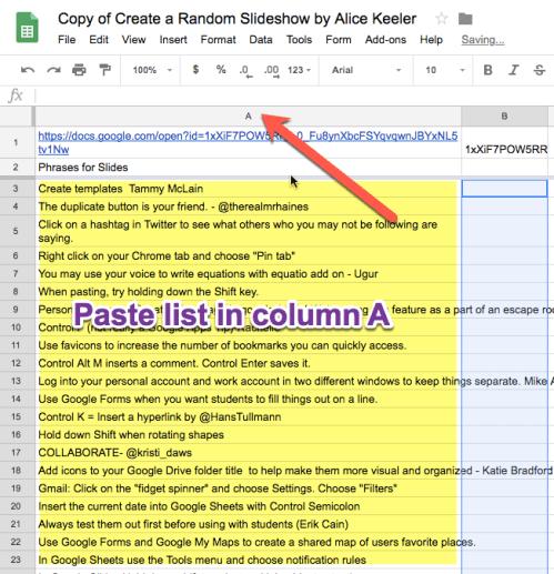 paste list into column A