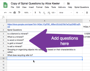 Add questions to column A