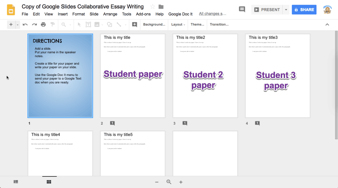 Grid of student docs in the same Google Slides
