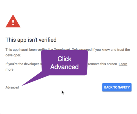 Click Advanced to Authorize
