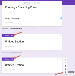 Google Form add sections