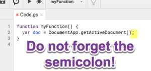 Do not forget the semicolon