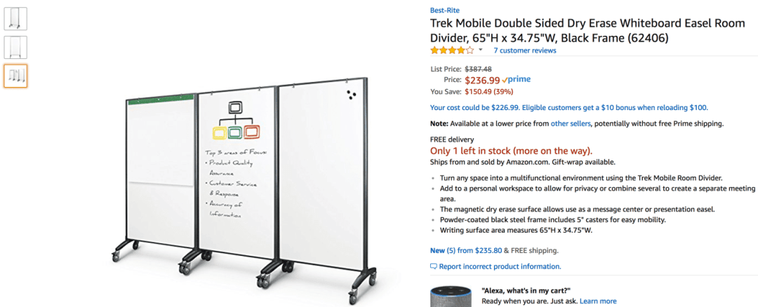 Amazon whiteboard partitions